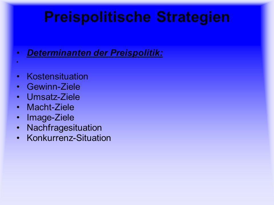 Preispolitische Strategien Determinanten der Preispolitik: Kostensituation Gewinn-Ziele Umsatz-Ziele Macht-Ziele Image-Ziele Nachfragesituation Konkurrenz-Situation