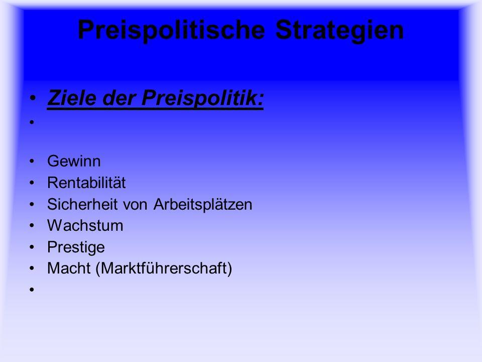Preispolitische Strategien Ziele der Preispolitik: Gewinn Rentabilität Sicherheit von Arbeitsplätzen Wachstum Prestige Macht (Marktführerschaft)