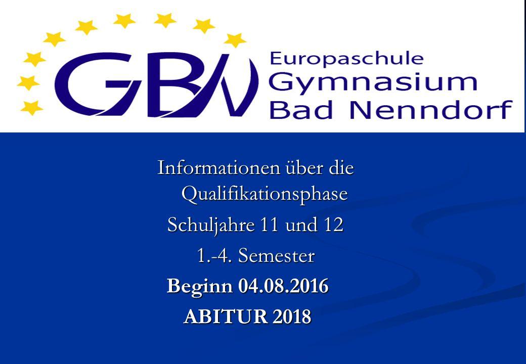 Europaschule Mint-Ec Schule Beginn 04.08.2016 ABITUR 2018 Informationen über die Qualifikationsphase Schuljahre 11 und 12 1.-4.