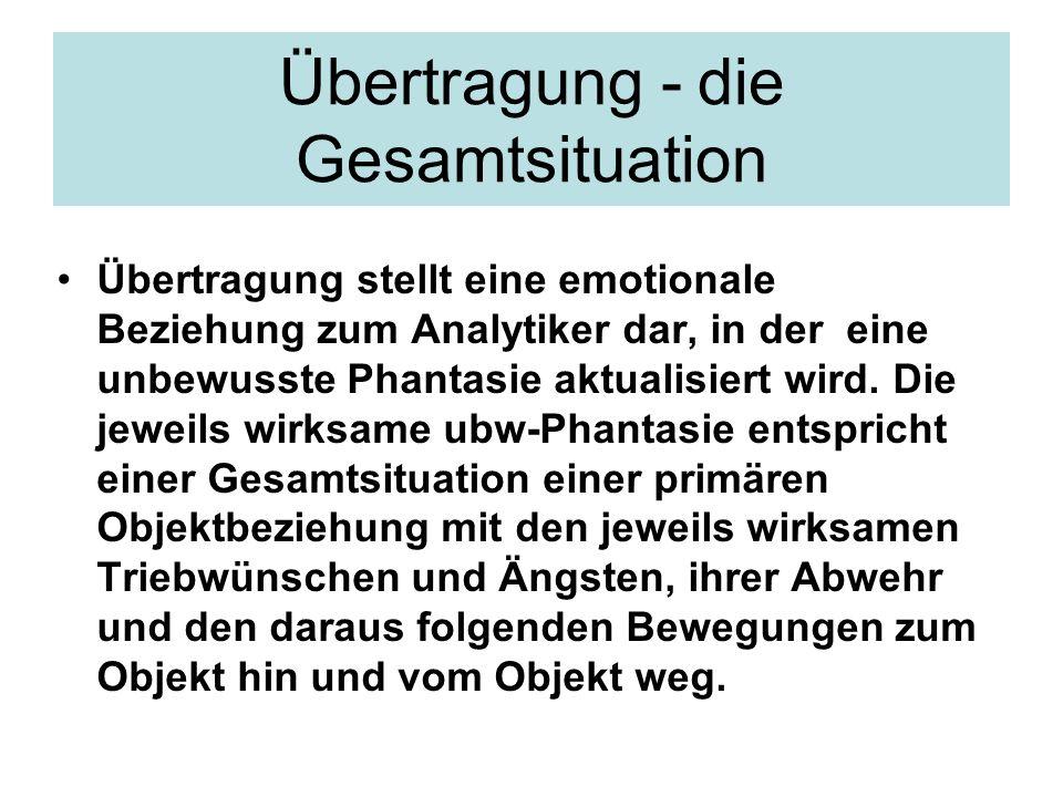 Übertragung - die Gesamtsituation Übertragung stellt eine emotionale Beziehung zum Analytiker dar, in der eine unbewusste Phantasie aktualisiert wird.