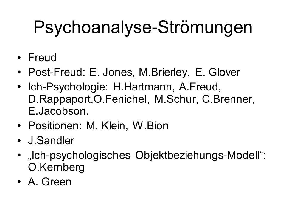 Psychoanalyse-Strömungen Freud Post-Freud: E. Jones, M.Brierley, E. Glover Ich-Psychologie: H.Hartmann, A.Freud, D.Rappaport,O.Fenichel, M.Schur, C.Br