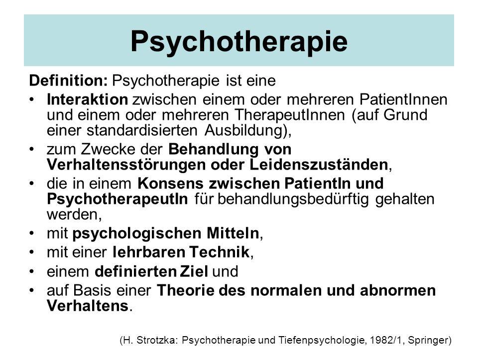 Psychotherapie Definition: Psychotherapie ist eine Interaktion zwischen einem oder mehreren PatientInnen und einem oder mehreren TherapeutInnen (auf G