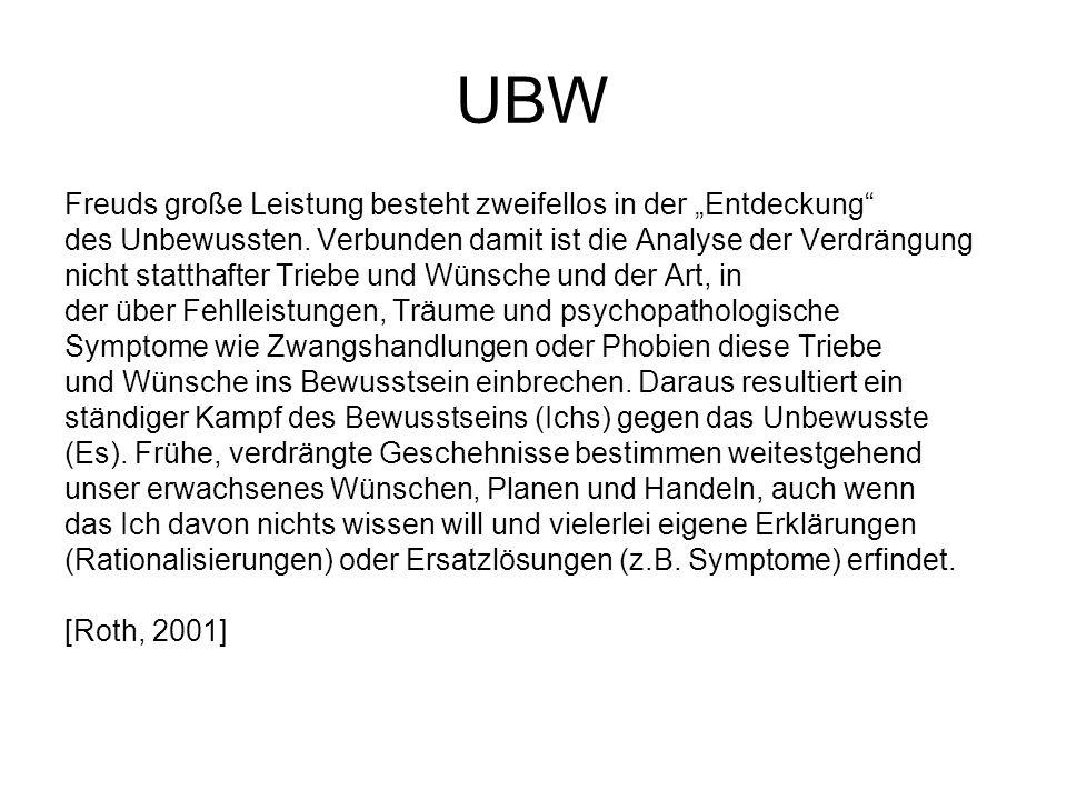 """UBW Freuds große Leistung besteht zweifellos in der """"Entdeckung"""" des Unbewussten. Verbunden damit ist die Analyse der Verdrängung nicht statthafter Tr"""