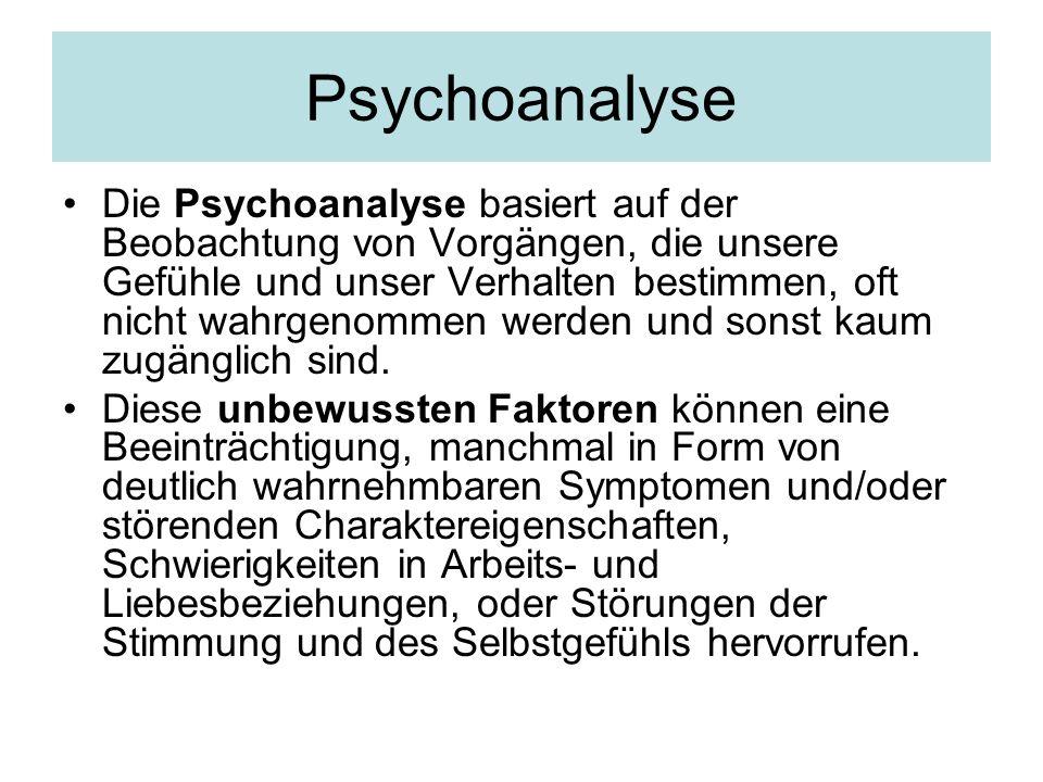 Psychoanalyse Die Psychoanalyse basiert auf der Beobachtung von Vorgängen, die unsere Gefühle und unser Verhalten bestimmen, oft nicht wahrgenommen we
