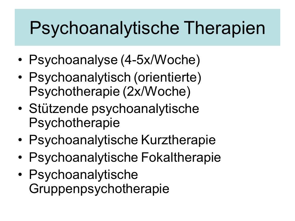 Psychoanalytische Therapien Psychoanalyse (4-5x/Woche) Psychoanalytisch (orientierte) Psychotherapie (2x/Woche) Stützende psychoanalytische Psychother