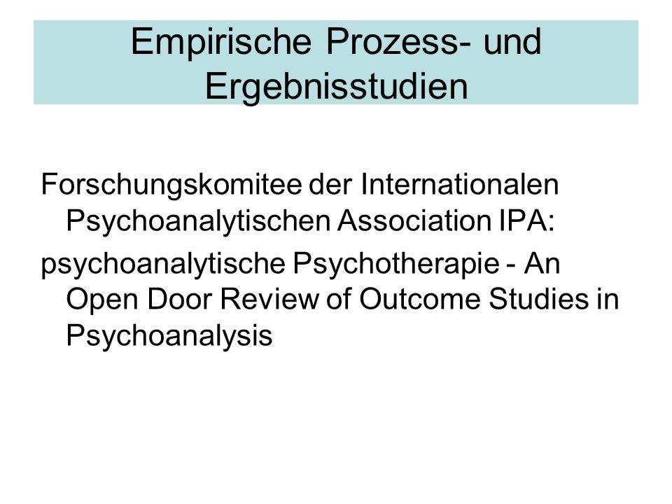 Empirische Prozess- und Ergebnisstudien Forschungskomitee der Internationalen Psychoanalytischen Association IPA: psychoanalytische Psychotherapie - A