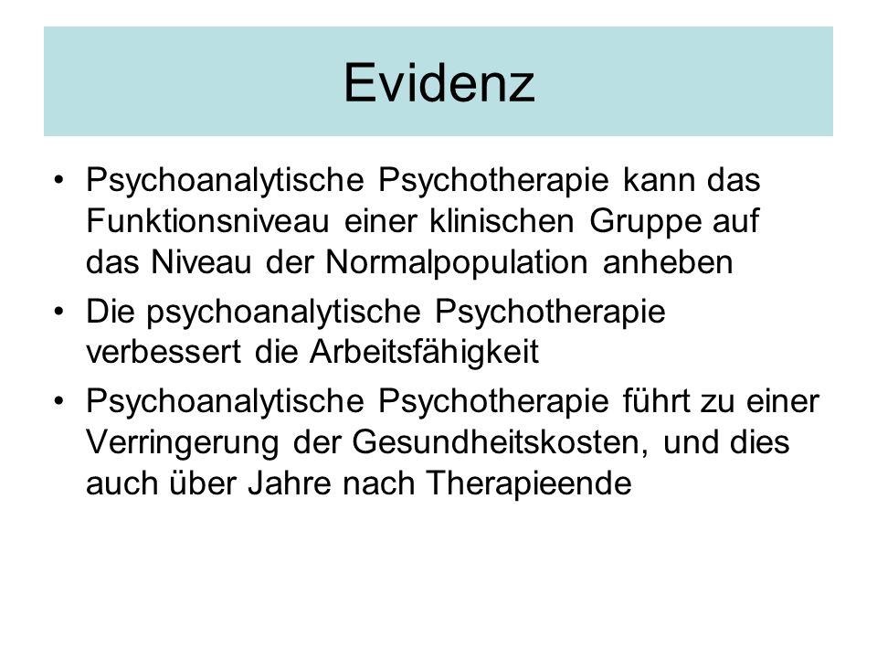Evidenz Psychoanalytische Psychotherapie kann das Funktionsniveau einer klinischen Gruppe auf das Niveau der Normalpopulation anheben Die psychoanalyt