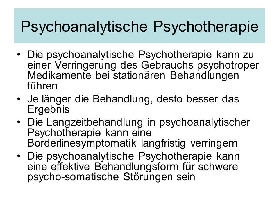 Psychoanalytische Psychotherapie Die psychoanalytische Psychotherapie kann zu einer Verringerung des Gebrauchs psychotroper Medikamente bei stationäre