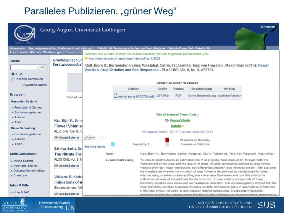 "Paralleles Publizieren, ""grüner Weg"
