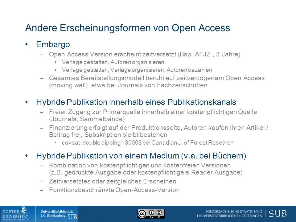 Andere Erscheinungsformen von Open Access Embargo –Open Access Version erscheint zeitversetzt (Bsp. AFJZ, 3 Jahre) Verlage gestatten, Autoren organisi