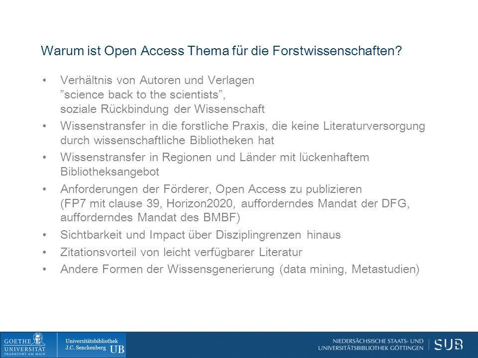 Warum ist Open Access Thema für die Forstwissenschaften.