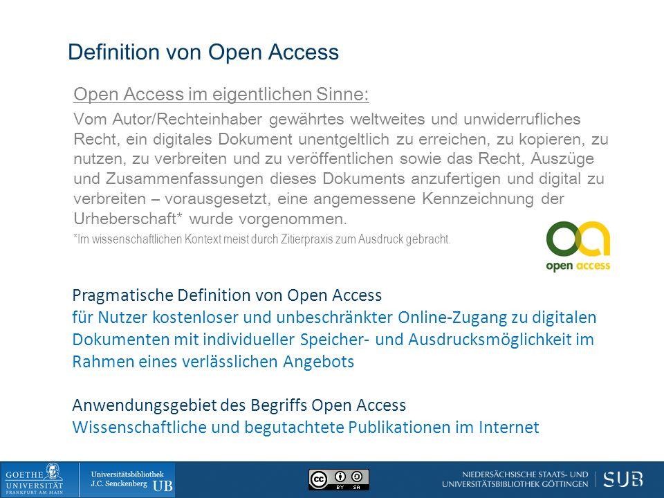Definition von Open Access Open Access im eigentlichen Sinne: Vom Autor/Rechteinhaber gewährtes weltweites und unwiderrufliches Recht, ein digitales Dokument unentgeltlich zu erreichen, zu kopieren, zu nutzen, zu verbreiten und zu veröffentlichen sowie das Recht, Auszüge und Zusammenfassungen dieses Dokuments anzufertigen und digital zu verbreiten – vorausgesetzt, eine angemessene Kennzeichnung der Urheberschaft* wurde vorgenommen.