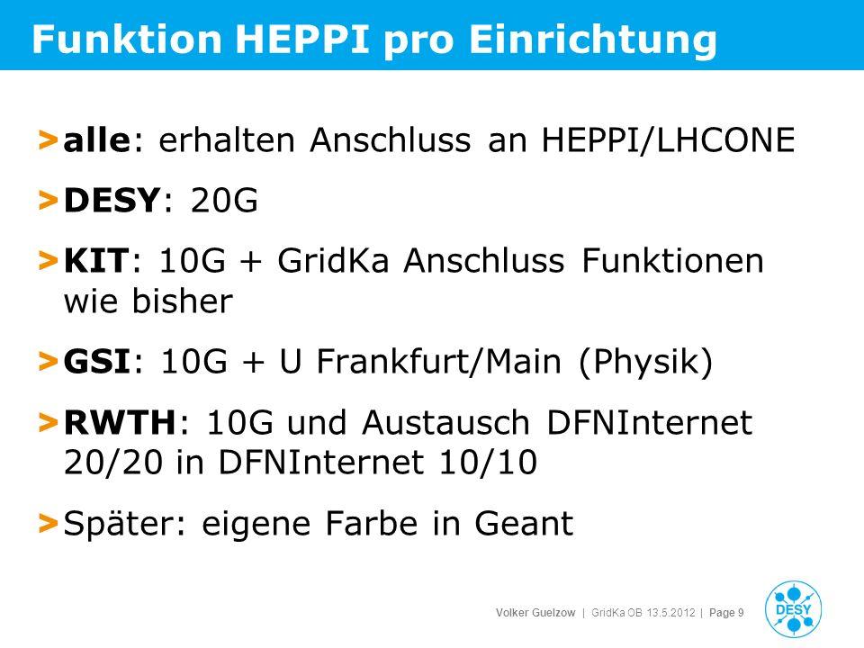 Volker Guelzow | GridKa OB 13.5.2012 | Page 9 Funktion HEPPI pro Einrichtung > alle: erhalten Anschluss an HEPPI/LHCONE > DESY: 20G > KIT: 10G + GridKa Anschluss Funktionen wie bisher > GSI: 10G + U Frankfurt/Main (Physik) > RWTH: 10G und Austausch DFNInternet 20/20 in DFNInternet 10/10 > Später: eigene Farbe in Geant