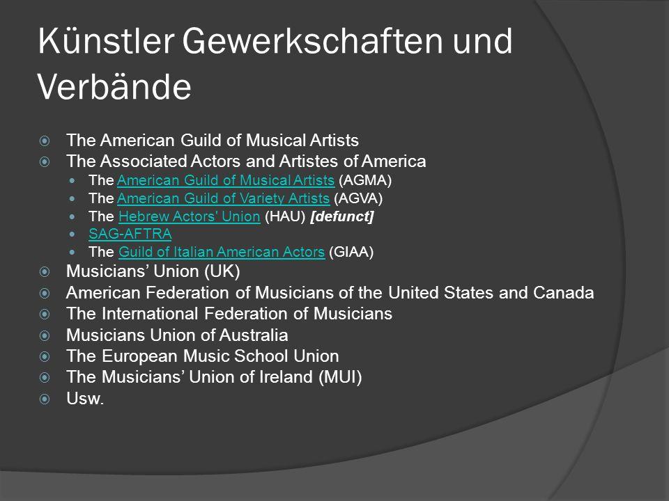 Gewerkschaft Kunst In allen Zonen Deutschlands haben sich nach 1945 die Kulturschaffenden in Verbänden und Gewerkschaften zusammengeschlossen, zunächst auf Ortsebene, dann auch länderübergreifend.