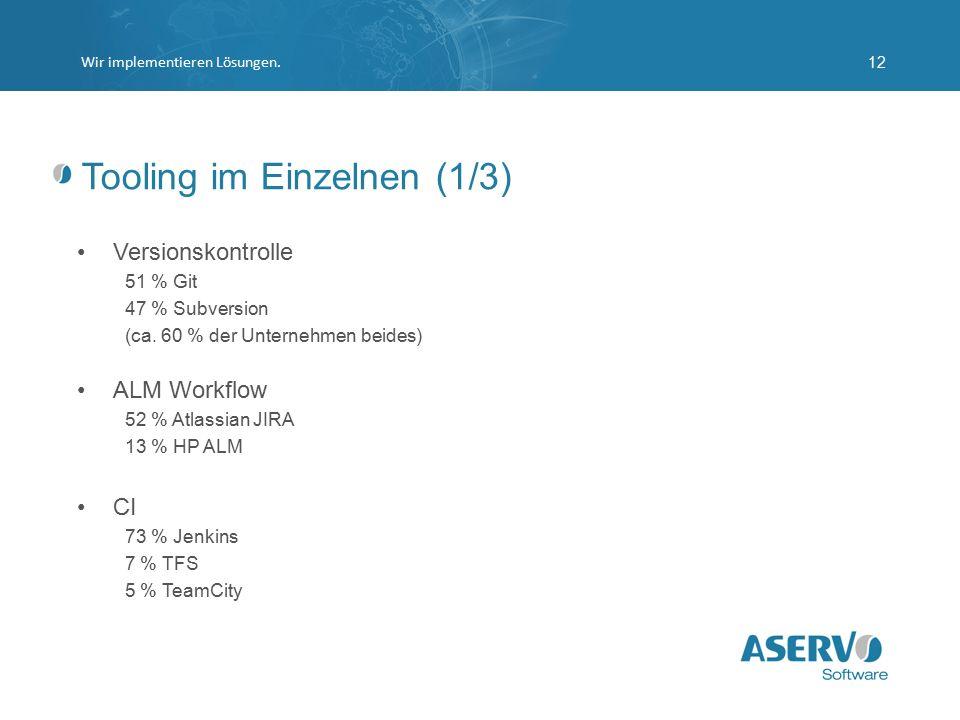 Tooling im Einzelnen (1/3) Versionskontrolle 51 % Git 47 % Subversion (ca. 60 % der Unternehmen beides) ALM Workflow 52 % Atlassian JIRA 13 % HP ALM C