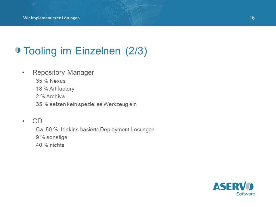 Tooling im Einzelnen (2/3) Repository Manager 35 % Nexus 18 % Artifactory 2 % Archiva 35 % setzen kein spezielles Werkzeug ein CD Ca. 50 % Jenkins-bas