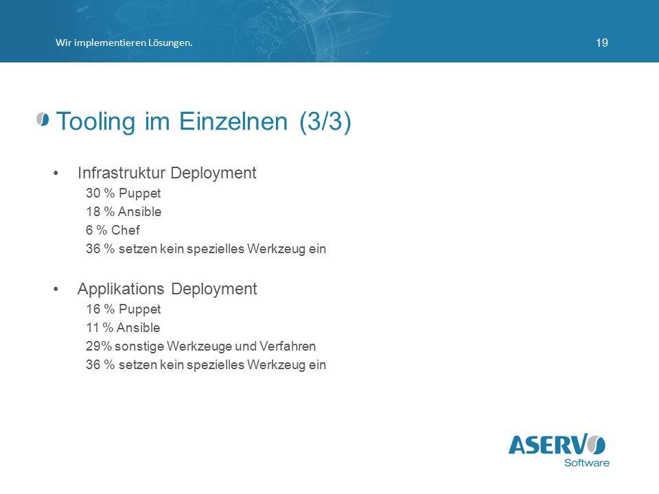 Tooling im Einzelnen (3/3) Infrastruktur Deployment 30 % Puppet 18 % Ansible 6 % Chef 36 % setzen kein spezielles Werkzeug ein Applikations Deployment