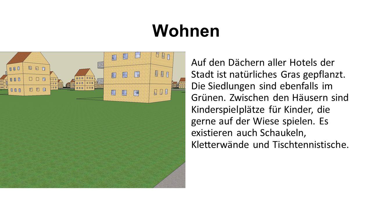Wohnen Auf den Dächern aller Hotels der Stadt ist natürliches Gras gepflanzt. Die Siedlungen sind ebenfalls im Grünen. Zwischen den Häusern sind Kinde