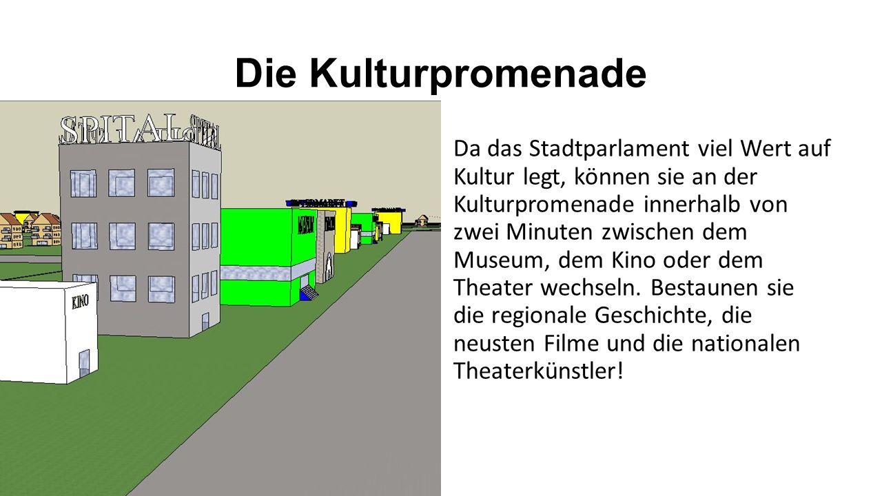 Die Kulturpromenade Da das Stadtparlament viel Wert auf Kultur legt, können sie an der Kulturpromenade innerhalb von zwei Minuten zwischen dem Museum, dem Kino oder dem Theater wechseln.
