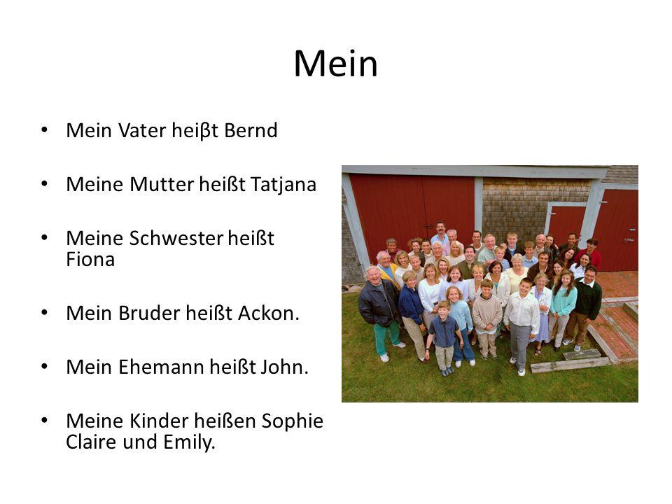 Mein Mein Vater heiβt Bernd Meine Mutter heißt Tatjana Meine Schwester heißt Fiona Mein Bruder heißt Ackon. Mein Ehemann heißt John. Meine Kinder heiß