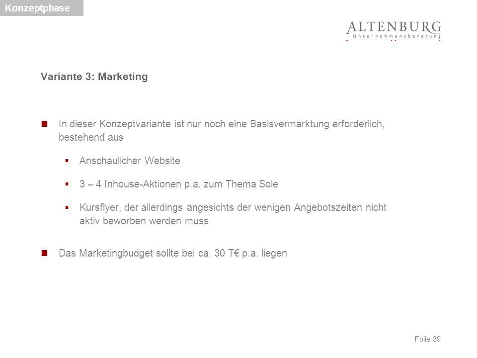 Folie 39 Variante 3: Marketing In dieser Konzeptvariante ist nur noch eine Basisvermarktung erforderlich, bestehend aus  Anschaulicher Website  3 –