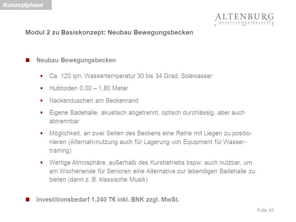 Folie 43 Neubau Bewegungsbecken  Ca. 120 qm, Wassertemperatur 30 bis 34 Grad, Solewasser  Hubboden 0,00 – 1,80 Meter  Nackenduschen am Beckenrand 