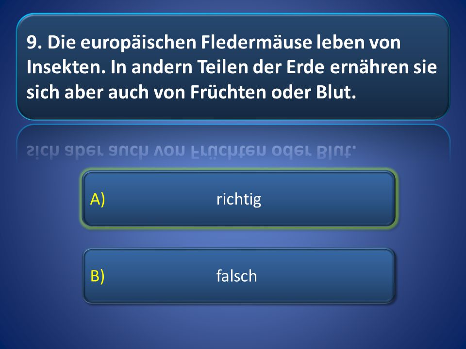 A) richtig B) falsch A) richtig