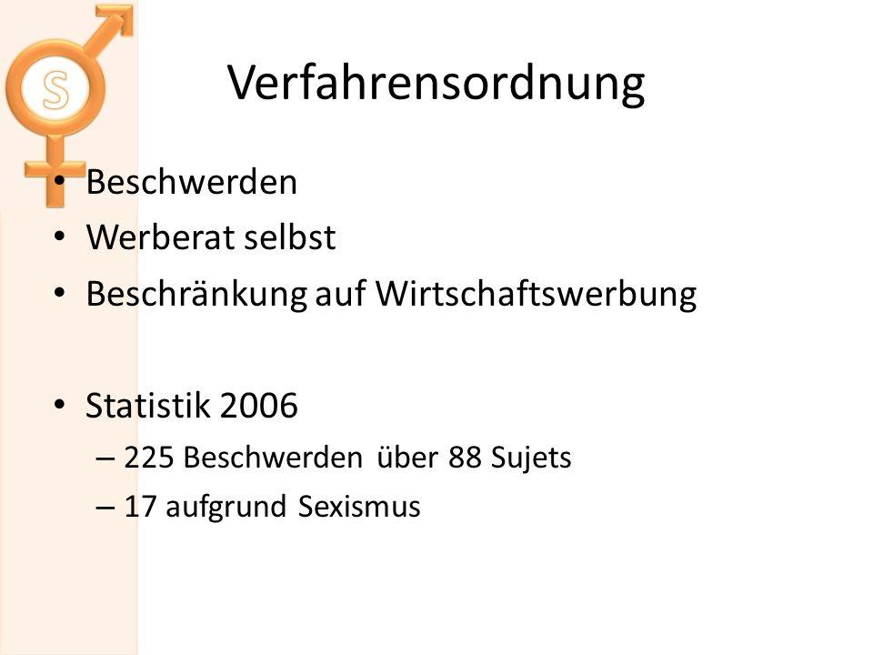 Verfahrensordnung Beschwerden Werberat selbst Beschränkung auf Wirtschaftswerbung Statistik 2006 – 225 Beschwerden über 88 Sujets – 17 aufgrund Sexismus