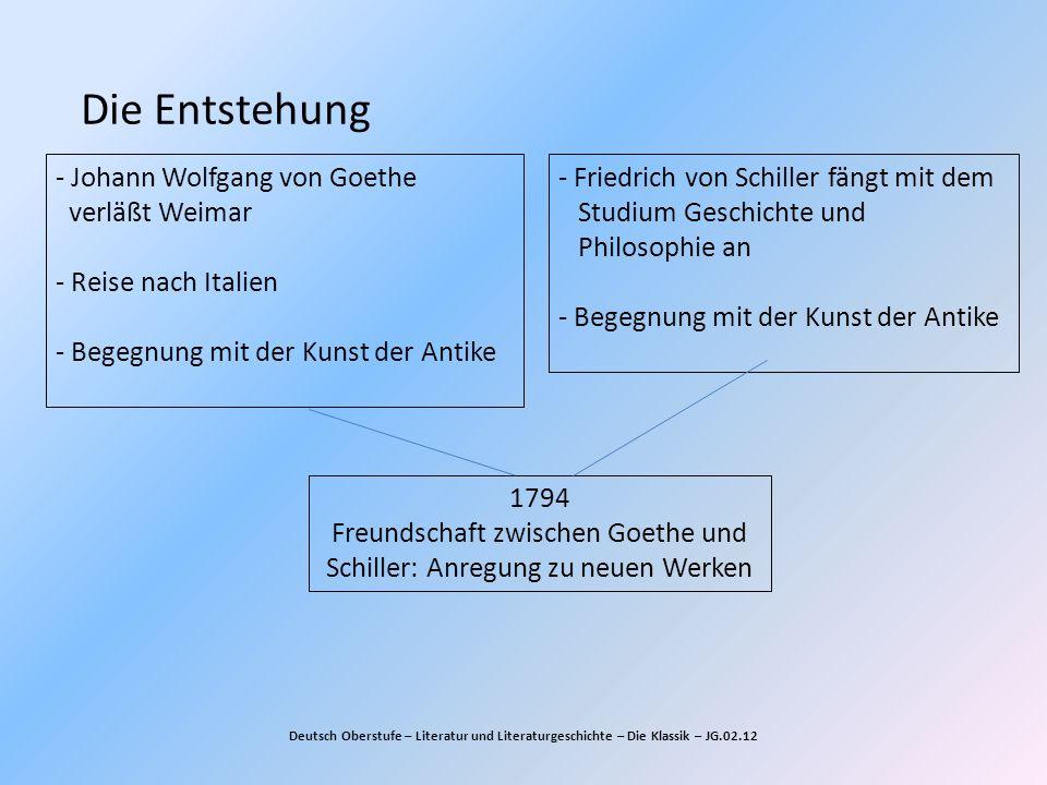 Die Entstehung Deutsch Oberstufe – Literatur und Literaturgeschichte – Die Klassik – JG.02.12 - Johann Wolfgang von Goethe verläßt Weimar - Reise nach