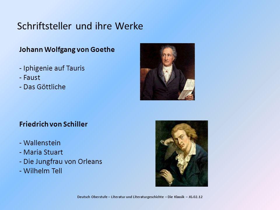 Schriftsteller und ihre Werke Deutsch Oberstufe – Literatur und Literaturgeschichte – Die Klassik – JG.02.12 Johann Wolfgang von Goethe - Iphigenie au