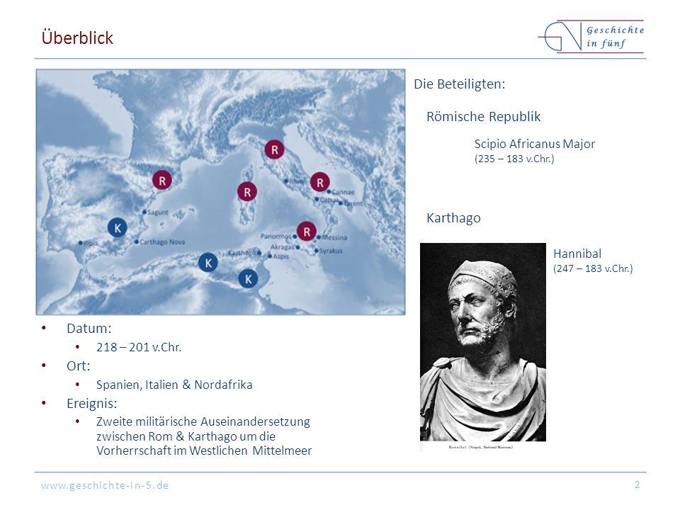 www.geschichte-in-5.de Überblick Datum: 218 – 201 v.Chr. Ort: Spanien, Italien & Nordafrika Ereignis: Zweite militärische Auseinandersetzung zwischen