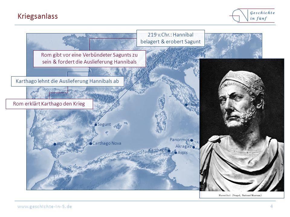 www.geschichte-in-5.de Rom Syrakus Messina Akragas Aspis Karthago Panormos Sagunt Cannae Capua Tarent Carthago Nova Ilipia Kriegsanlass 4 219 v.Chr.: