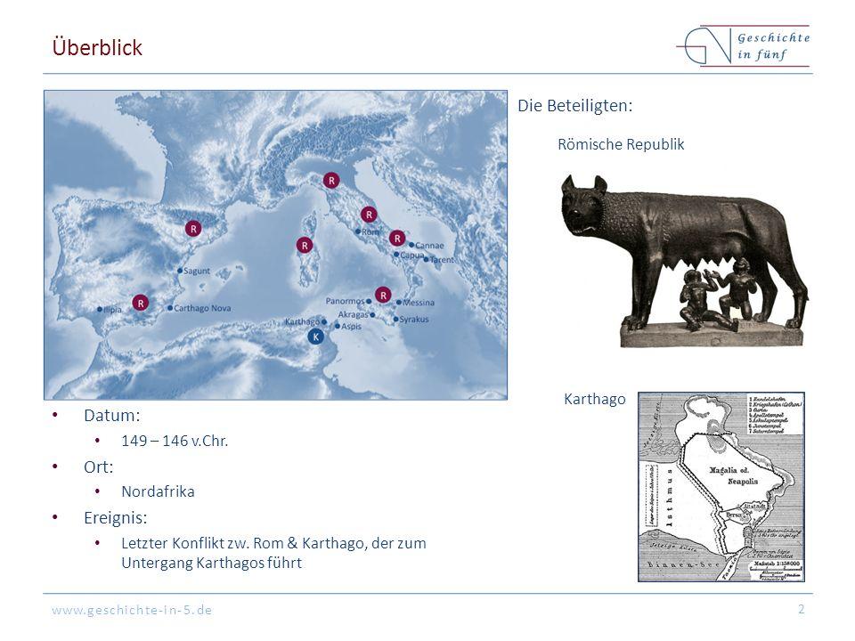 www.geschichte-in-5.de Überblick Datum: 149 – 146 v.Chr. Ort: Nordafrika Ereignis: Letzter Konflikt zw. Rom & Karthago, der zum Untergang Karthagos fü