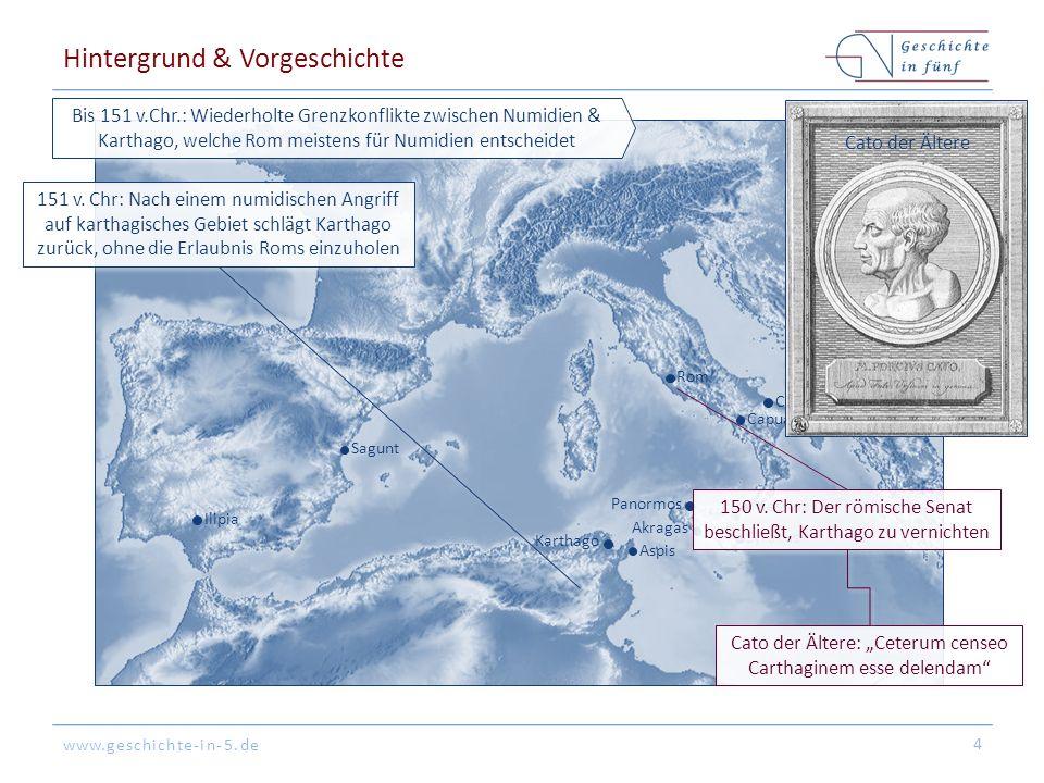 www.geschichte-in-5.de Rom Syrakus Messina Akragas Aspis Karthago Panormos Sagunt Cannae Capua Tarent Ilipia Hintergrund & Vorgeschichte 4 Bis 151 v.C