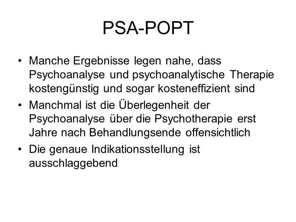PSA-POPT Manche Ergebnisse legen nahe, dass Psychoanalyse und psychoanalytische Therapie kostengünstig und sogar kosteneffizient sind Manchmal ist die Überlegenheit der Psychoanalyse über die Psychotherapie erst Jahre nach Behandlungsende offensichtlich Die genaue Indikationsstellung ist ausschlaggebend