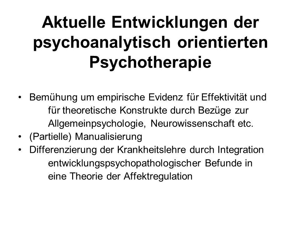 Aktuelle Entwicklungen der psychoanalytisch orientierten Psychotherapie Bemühung um empirische Evidenz für Effektivität und für theoretische Konstrukte durch Bezüge zur Allgemeinpsychologie, Neurowissenschaft etc.