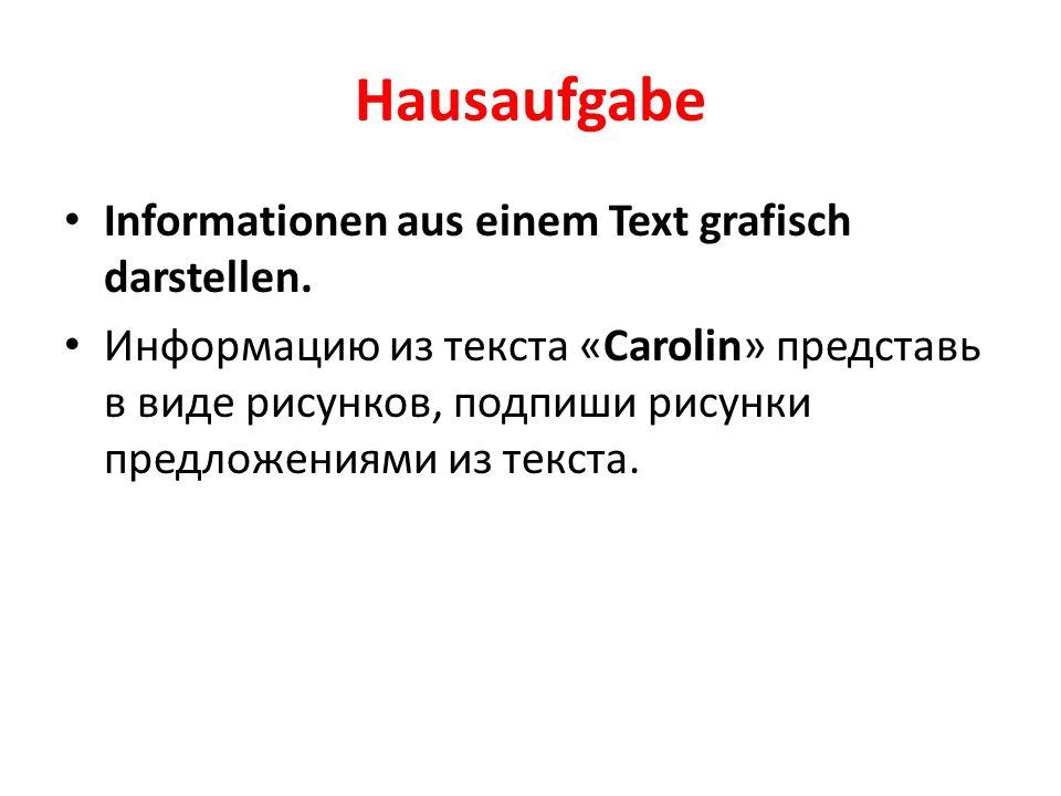 Hausaufgabe Informationen aus einem Text grafisch darstellen.
