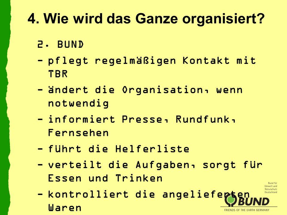 4. Wie wird das Ganze organisiert? 2. BUND -pflegt regelmäßigen Kontakt mit TBR -ändert die Organisation, wenn notwendig -informiert Presse, Rundfunk,