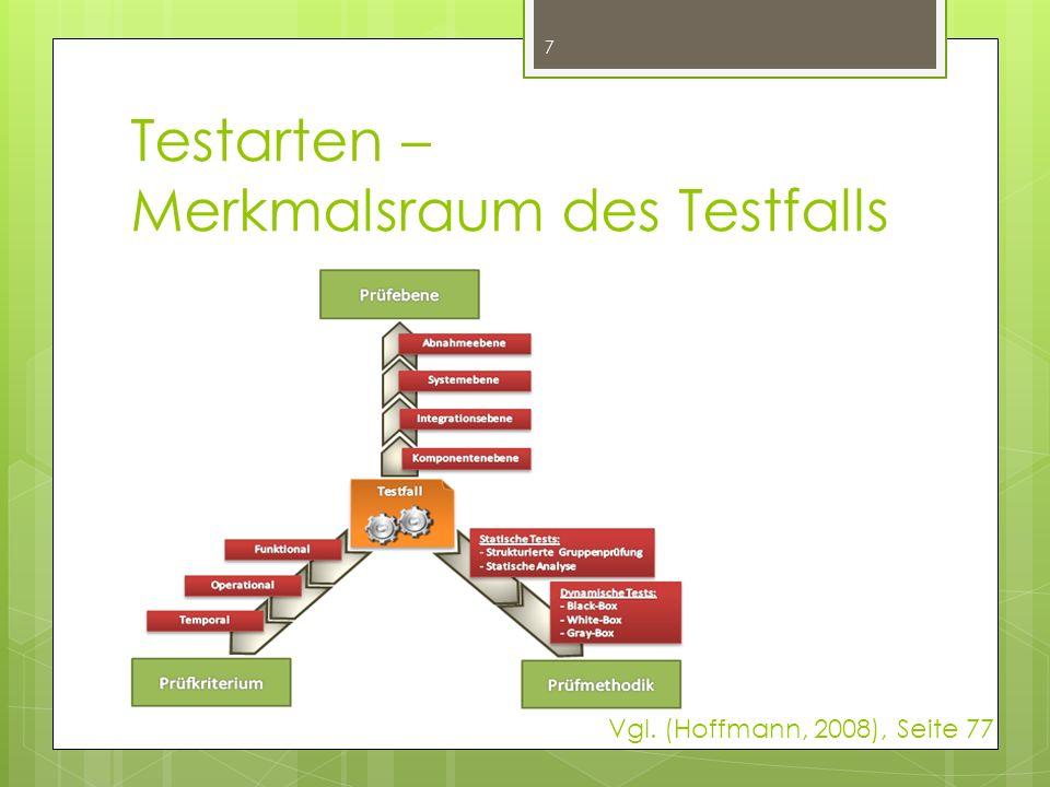 Zusammenfassung - Prüfebenen  Es gibt vier Ebenen, in die sich jeder Testfall einordnen lässt  zeitliche Entwicklungsphase, in der sich die Software befindet, ist für die Klassifikation ein Kriterium  Programm-Struktur ebenso 8