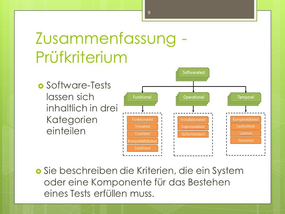 Zusammenfassung - Prüfkriterium  Sie beschreiben die Kriterien, die ein System oder eine Komponente für das Bestehen eines Tests erfüllen muss.