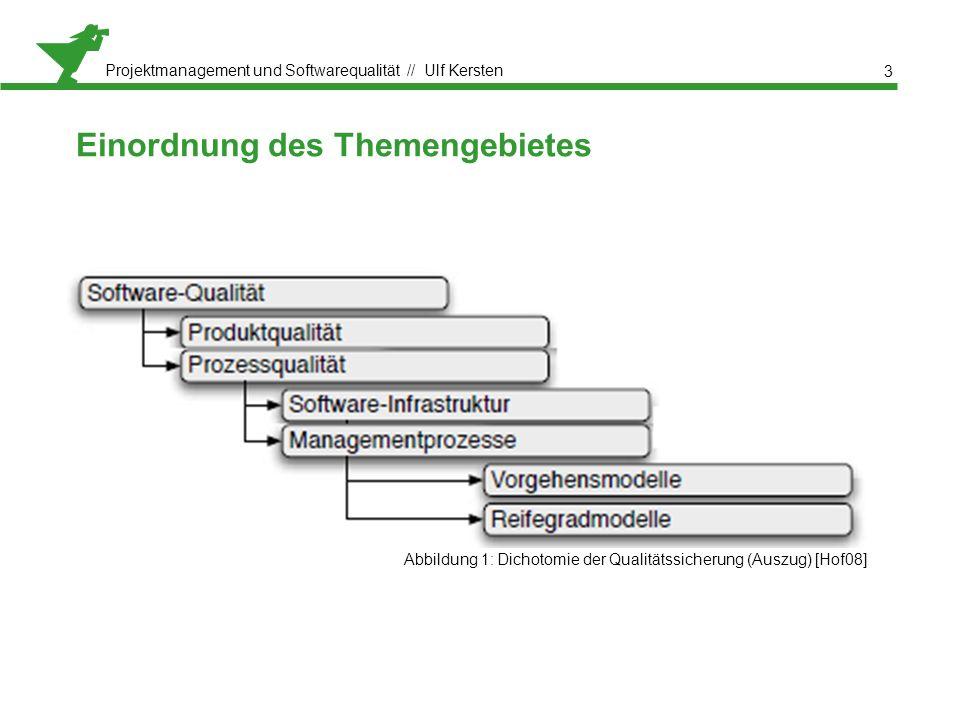 Projektmanagement und Softwarequalität // Ulf Kersten Abbildung 1: Dichotomie der Qualitätssicherung (Auszug) [Hof08] Einordnung des Themengebietes 3