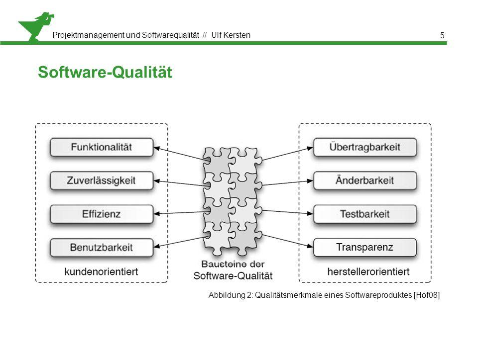 Projektmanagement und Softwarequalität // Ulf Kersten Software-Qualität 5 Abbildung 2: Qualitätsmerkmale eines Softwareproduktes [Hof08]