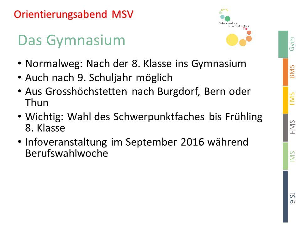 Gym BMS HMS 9.SJ FMS IMS Sekundarschule Signau Das Gymnasium Normalweg: Nach der 8.