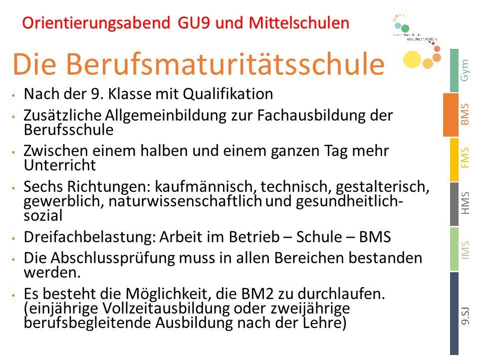 Sekundarschule Signau Gymnasium – Berufsmaturitätsschule – Fachmittelschule – Handelsmittelschule Orientierungsabend Gym BMS HMS 9.SJ FMS IMS Die Berufsmaturitätsschule Nach der 9.
