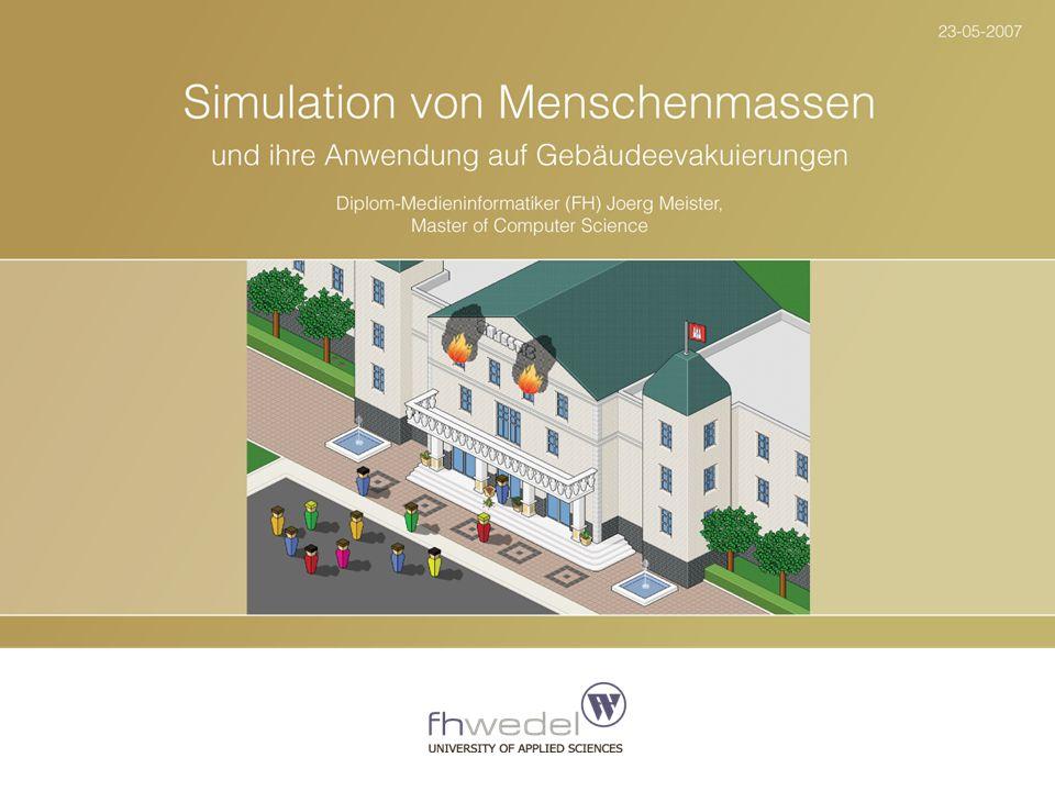 """Slide 32 """"Simulation des Verhaltens von Menschenmassen und ihre Anwendung auf Gebäudeevakuierungen Jörg Meister 23-05-2007 Nachbarschaften werden genutzt, um die nächste Zielzelle eines Fußgängers zu bestimmen."""