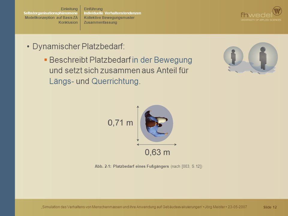 """Slide 12 """"Simulation des Verhaltens von Menschenmassen und ihre Anwendung auf Gebäudeevakuierungen"""" Jörg Meister 23-05-2007 Dynamischer Platzbedarf: """
