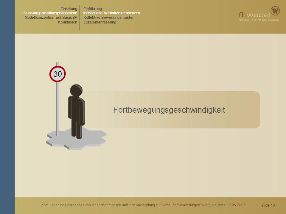 """Slide 13 """"Simulation des Verhaltens von Menschenmassen und ihre Anwendung auf Gebäudeevakuierungen"""" Jörg Meister 23-05-2007 Fortbewegungsgeschwindigke"""