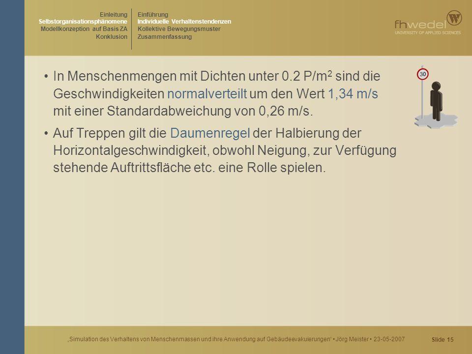 """Slide 15 """"Simulation des Verhaltens von Menschenmassen und ihre Anwendung auf Gebäudeevakuierungen"""" Jörg Meister 23-05-2007 In Menschenmengen mit Dich"""