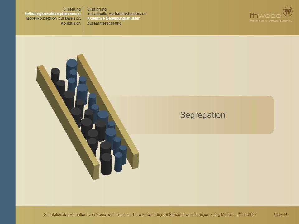 """Slide 16 """"Simulation des Verhaltens von Menschenmassen und ihre Anwendung auf Gebäudeevakuierungen"""" Jörg Meister 23-05-2007 Segregation Einführung Ind"""