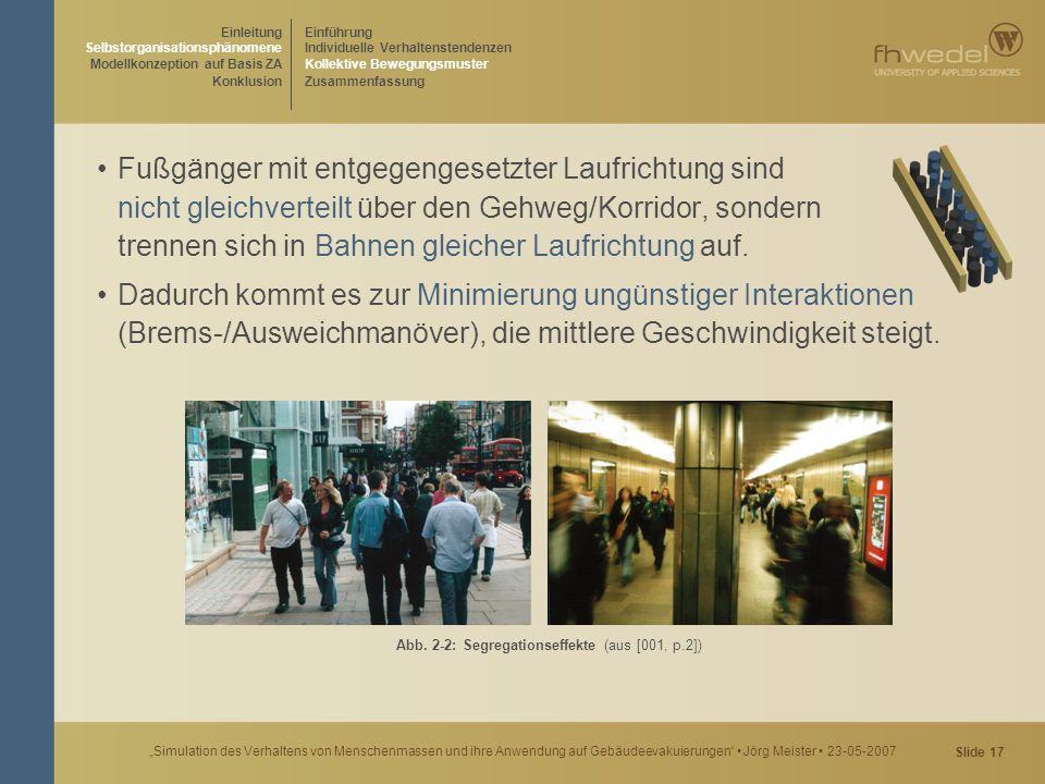 """Slide 17 """"Simulation des Verhaltens von Menschenmassen und ihre Anwendung auf Gebäudeevakuierungen"""" Jörg Meister 23-05-2007 Fußgänger mit entgegengese"""